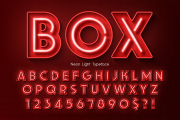 Neon light 3d alphabet, extra glowing font. Papier Peint