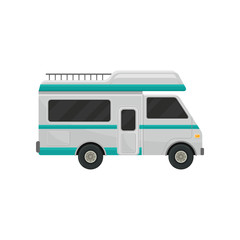 Gray camper truck with turquoise stripes and black tinted windows. Recreational vehicle. Comfort car for family travel. Flat vector