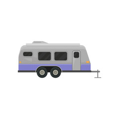 Classic camper trailer for family journey. Home on wheels. Vehicle for comfort travel. Flat vector for advertising poster or banner