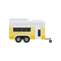 Flat vector icon of classic camper trailer with yellow stripes. Transport for comfort family travel. Modern home on wheels