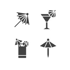Cocktail umbrella flat glyph icons. Cold summer drinks illustrations, tequila sunrise, cosmopolitan alcohol beverage. Signs for beach bar. Solid silhouette pixel perfect 64x64.