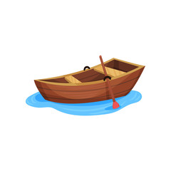 Wooden fishing boat vector Illustration on a white background