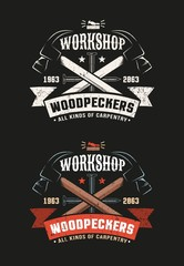 Two crossed hammers, nails and ribbon - a retro workshop logo. Grunge texture on a separate layer