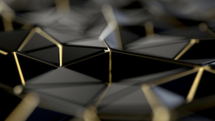 Black and gold polygonal background
