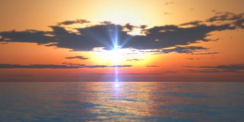 sunset in sea clouds