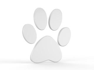 Paw icon on isolated white background, 3d illustration