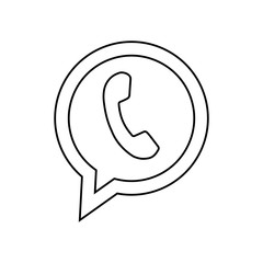 Telephone icon with black color. Phone pictogram design.