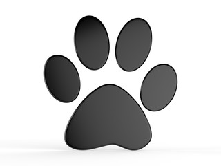 Paw icon on isolated white background, 3d illustration