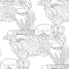 seamless pattern bakery products in the assortment. illustration