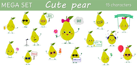 Mega set of fifteen pears a green character in different poses and accessories in cartoon style.