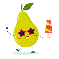 Cute pear green cartoon character in sunglasses star in the hands of a colorful ice cream.