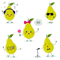 A set of five cute green pear characters in different poses and accessories in cartoon style.