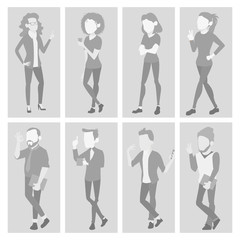 Default Placeholder Avatar Set Vector. Profile Gray Picture. Full Length Portrait. Male, Female Face Photo. Businessman, Business Woman. Human Photo. Silhouette. Isolated Illustration