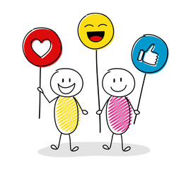 Group of people holding balloons with emoticons. Vector.