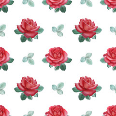 Watercolor illustrations of a roses. Seamless pattern.