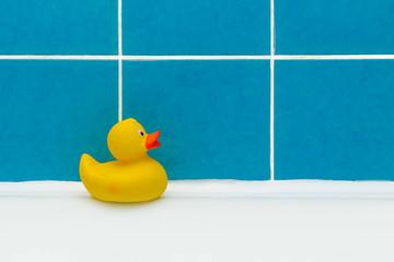 a duck toy in a clean bathroom after repair closeup