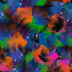 Seamless pattern halftone style. Ethnic textile print with watercolor effect. Mixed fashion background.