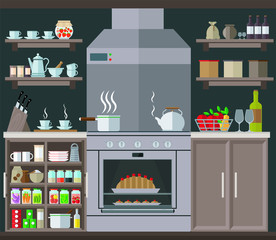 Comfortable and cozy kitchen with a large stove, cabinets and kitchenware. Set vector illustration.