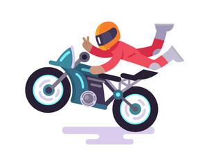 Street Racer Making Tricks on Motorbike Vector
