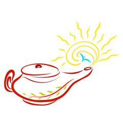 An old burning lamp, a sun and a flying bird, faith, parable,