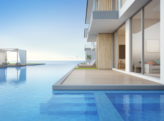 Luxury beach house with sea view swimming pool and empty terrace in modern design, Lounge chairs on wooden floor deck at vacation home or hotel - 3d illustration of contemporary holiday villa exterior