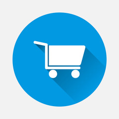 Shopping cart vector icon. Symbol of a store, hypermarket, sales with a flat shadow. Layers grouped for easy editing illustration. For your design.