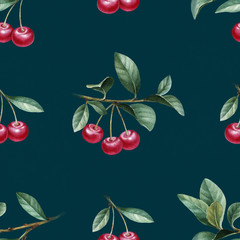 Watercolor illustration of cherry. Seamless pattern