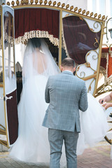 Groom Helping Bride in Carriage