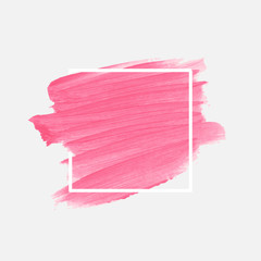 Logo brush paint texture acrylic abstract background over square frame vector. Perfect design for headline, logo and sale banner.