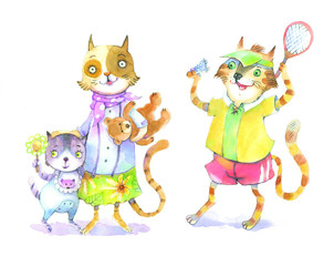 Cats, family, watercolor illustration