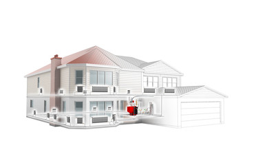 private house heating system building concept 3d render on white no shadow