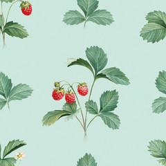 Watercolor illustration of strawberry bush. Seamless pattern