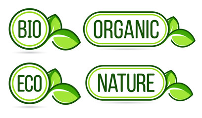 Green organic products labels. Organic, natural, bio, eco vector labels.