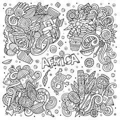 Vector hand drawn doodles cartoon set of Africa combinations of objects