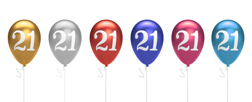 Number 21 birthday balloons collection gold, silver, red, blue, pink. 3D Rendering