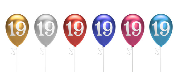 Number 19 birthday balloons collection gold, silver, red, blue, pink. 3D Rendering