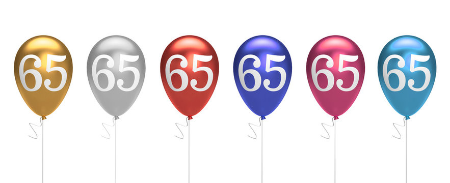 Number 65 birthday balloons collection gold, silver, red, blue, pink. 3D Rendering