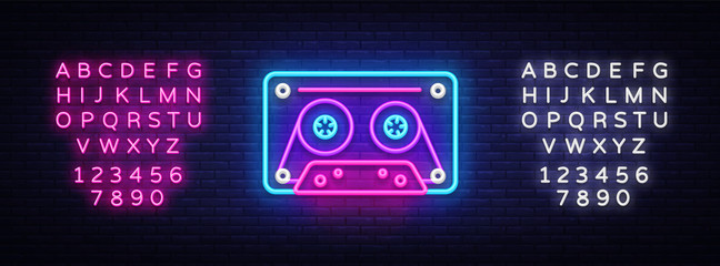 Cassetts for tape recorder neon sign vector. Retro Music Design template neon sign, Retro Style 80-90s, celebration light banner, tape recorder, nightly bright advertising. Editing text neon sign