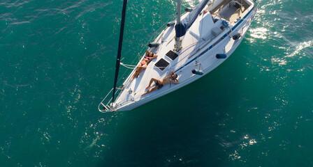 Couple on sailing boat