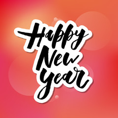 Happy New Year Vector Gradient Phrase Lettering Calligraphy Sticker Watercolor