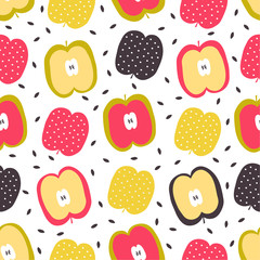 Cartoon apples seamless pattern.