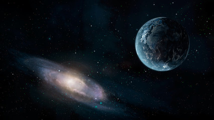 Space scene. Earth planet with galaxy. Elements furnished by NASA. 3D rendering