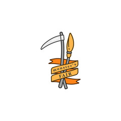 Vector illuatration broomstick and reaper with ribbon. Happy Halloween fair celebration. Holiday badge on white background.