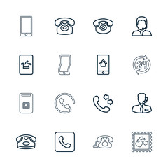 Collection of 16 call outline icons