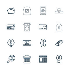 Collection of 16 banking outline icons