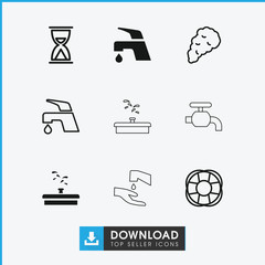 Collection of 9 flow filled and outline icons