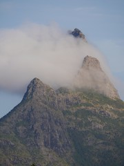 Clouds at the peak of a mountain in Mauritius