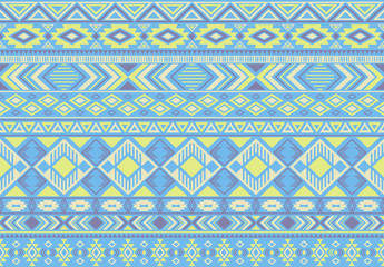 Ikat pattern tribal ethnic motifs geometric seamless vector background. Trendy indian tribal motifs clothing fabric textile print traditional design with triangle and rhombus shapes.