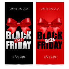Black friday banners with bow