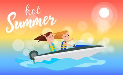 Hot Summer Boating Activity in Summertime, Girls